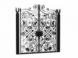 Antique wrought iron garden gates 3d model