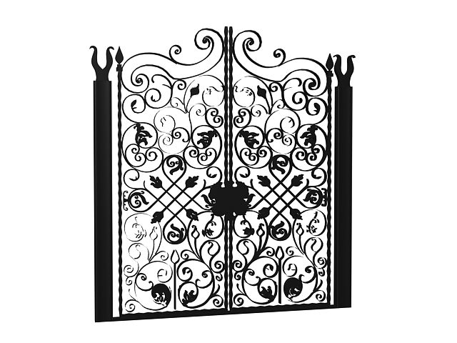Antique Wrought Iron Garden Gates 3d Model 3dsmax 3ds