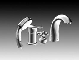 Bath shower faucets set 3d model