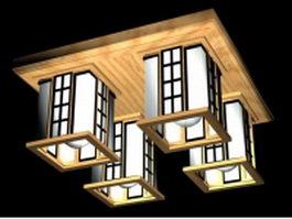 Square ceiling lights 3d model