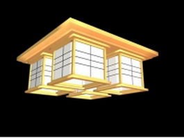 Classical 4 light square ceiling light fixture 3d model