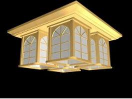 Club square flush mount ceiling fixture 3d model