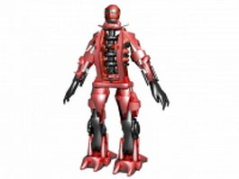 Red robot guards 3d model