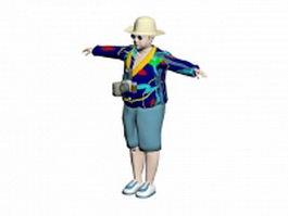 Male tourist 3d model