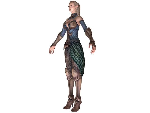 High Elf Female Warrior 3d Model 3dsMaxWavefront Files Free Download