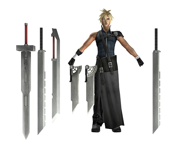final fantasy vii cloud strife 3d model 3dsmax files