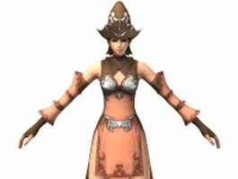 Fantasy character female mage 3d model