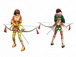 Ancient chinese female archer concept 3d model