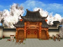 Fantasy tavern exterior game environment 3d model