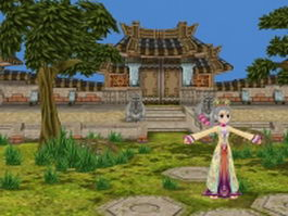 Fantasy girl in ancient temple 3d model