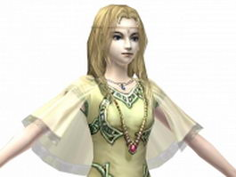 Beautiful fantasy queen 3d model