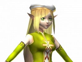 Elf girl character concept design 3d model