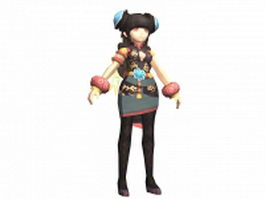 Anime gladiator girl 3d model