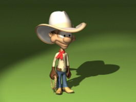 Cute cartoon cowboy 3d model