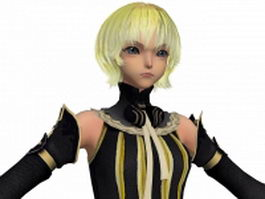 Anime cute girl short blonde hair 3d model
