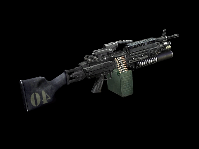 M249 Light Machine Gun 3d Model 3dsmax Files Free Download