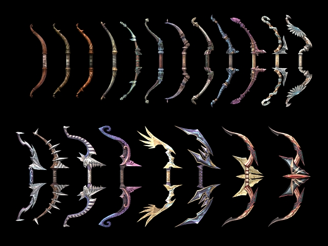 3D model of bow weapon collection modeling concepts in 3ds Max, 20 ...: www.cadnav.com/3d-models/model-18999.html