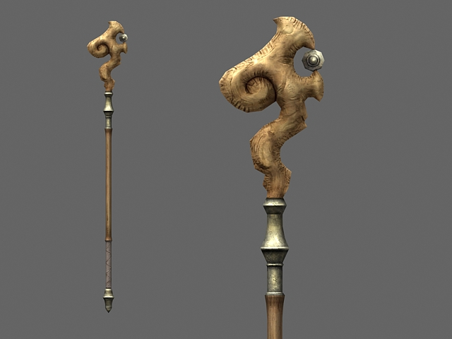 Wooden Mage Staff 3d Model 3dsmax Files Free Download Modeling