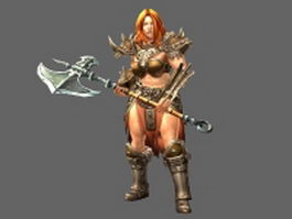 Diablo III character - barbarian female 3d model