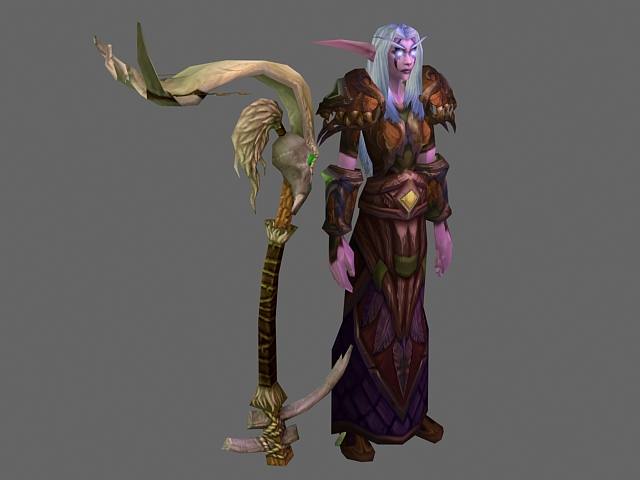 Wow Character Dark Elf Druid 3d Model 3dsmax Files Free