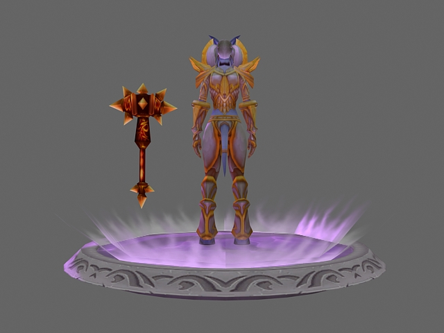 wow character   draenei female paladin tier 1 sets 3d