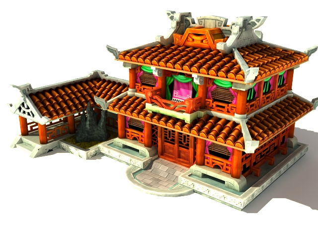 Delightful 3D Model Of Ancient Chinese Fantasy House Modeling In 3ds Max And V Ray  Render. Available 3D Object File Formats: .MAX (3D Studio Max) V Ray Render