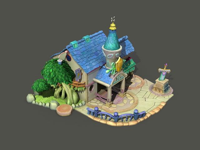 Cartoon House 3d Model 3dsMax Files Free Download