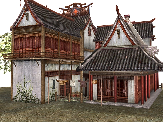 Ancient Chinese Buildings 3d Model 3dsmax Files Free