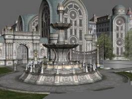 Gothic city building scene 3d model