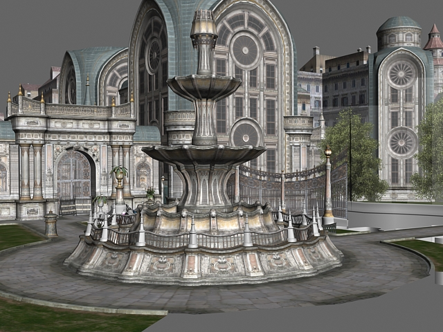 gothic city building scene 3d model 3dsmax files free download