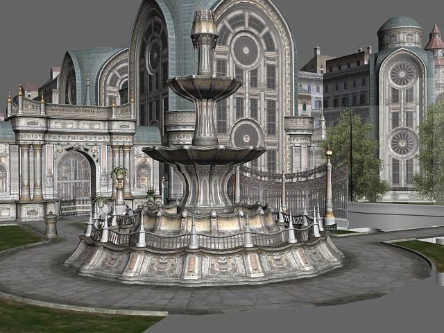 Gothic city building scene 3d model - CadNav