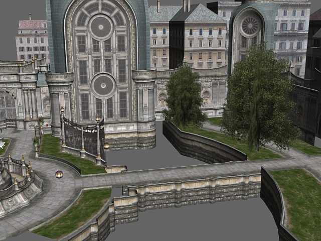 Gothic City Building Scene 3d Model 3dsmax Files Free