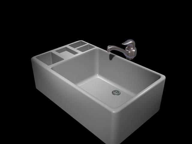 Sink Tap Modell : White kitchen sink d model dsmax files free download modeling