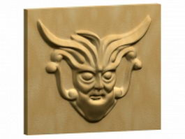 Ornamental face of relief sculpture 3d model