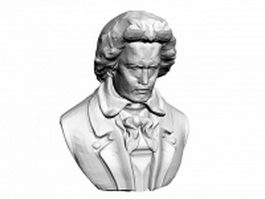 Beethoven bust statue 3d model