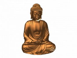 Bronze buddha statue 3d model