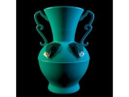 Blue ceramic vase with handles 3d model