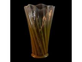 Vintage yellow glass vase 3d model