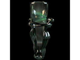 Vintage art glass vase 3d model