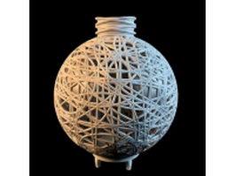 Vintage rattan ball vase 3d model