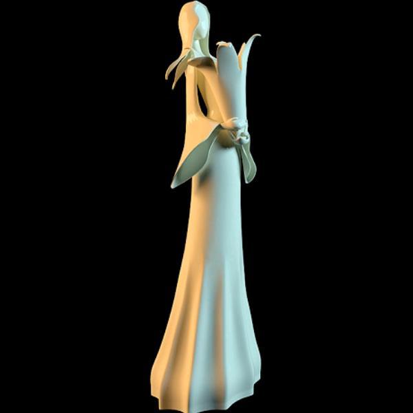 White women statue vase 3d rendering
