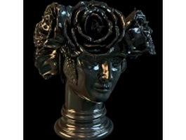 Lady head vase 3d model