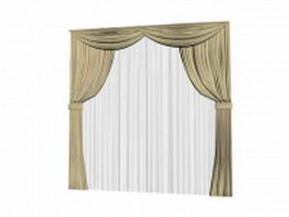 Tie back curtain with sheer and valance 3d model