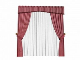 Claret curtain with valance and sheer 3d model