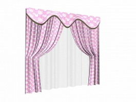 Stylish pink curtain with sheer 3d model