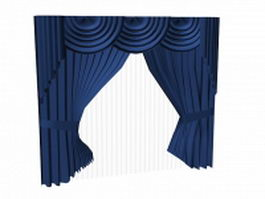 Tie-back curtains with valance and sheer 3d model