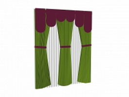 Long curtain panels with sheer and valance 3d model