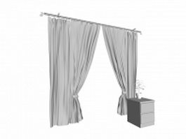 Flat panel curtains and cabinet 3d model