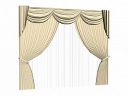 Drapery with valance and sheer 3d model