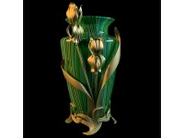 Stained glass vase with bronze flower 3d model
